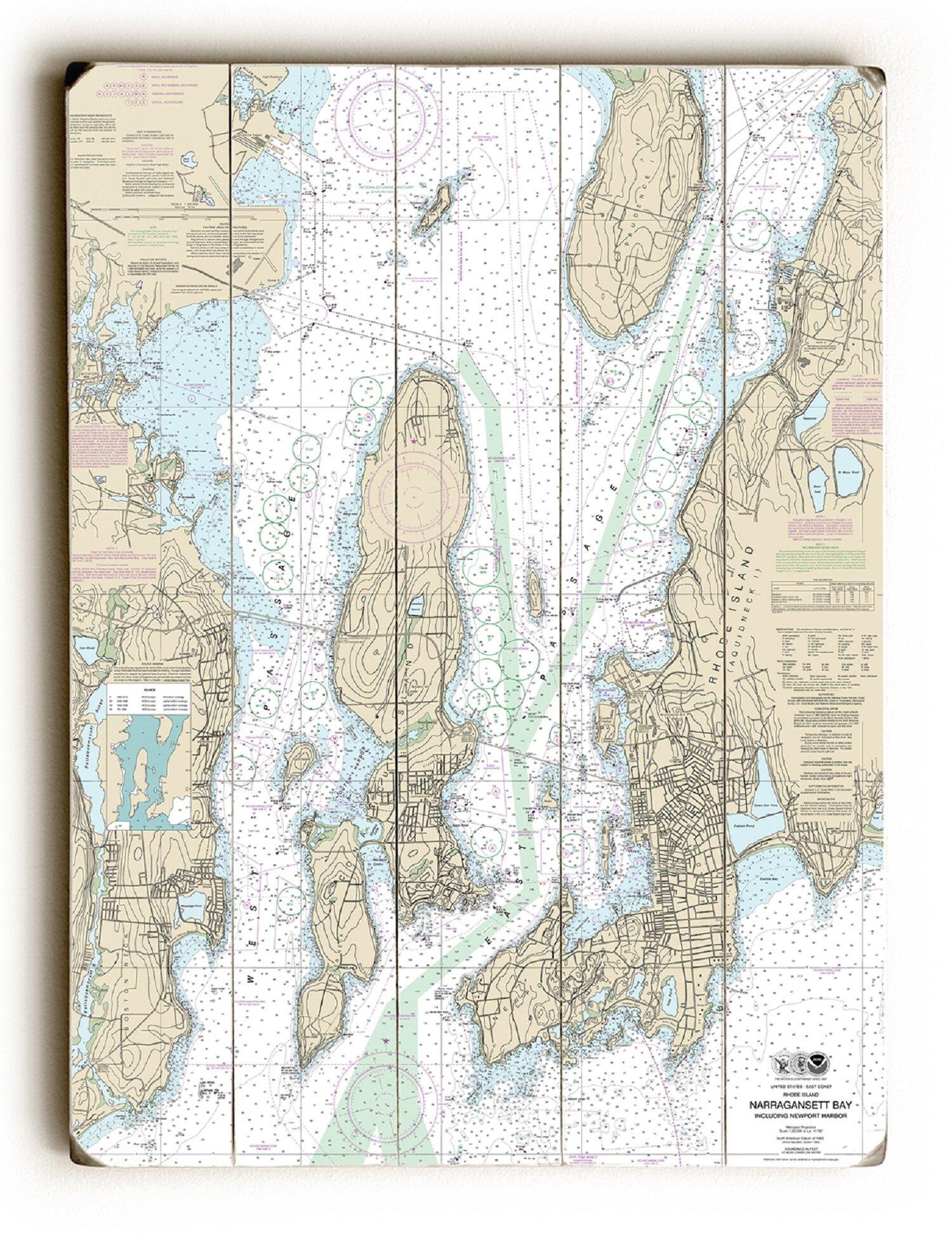 'RI: Narragansett Bay, Newport Harbor, RI Nautical Chart Sign' Graphic Art  Print on Wood