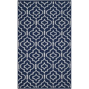 Dhurries Navy Ivory Geometric Area Rug