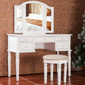 white desk vanity with mirror. Vanity Set with Mirror Makeup Tables and Vanities You ll Love  Wayfair