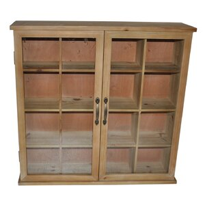 Wood Storage Accent Cabinet with Glass Doors