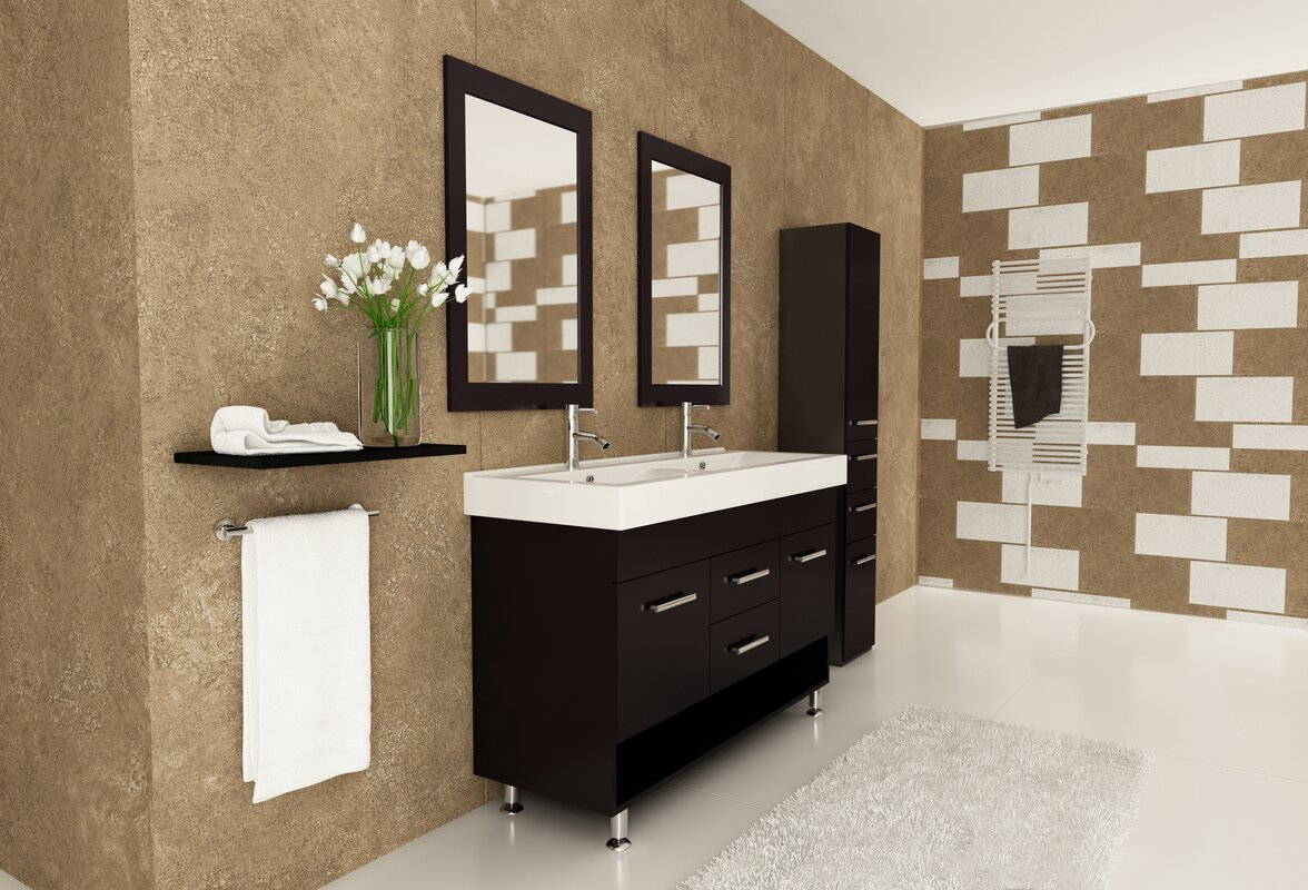 "How To Paint Vinyl Bathroom Cabinets jwh living rigel 48"" double bathroom vanity set & reviews 