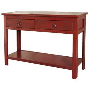 red console tables you ll love in 2019 wayfair rh wayfair com red sofa table with drawers rustic red sofa table