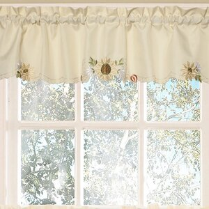 Sunflower Embroidered Kitchen 60 Curtain Valance
