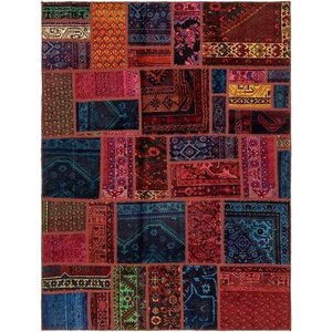 Sela Vintage Persian Hand Woven Dyed Wool Blue/Red Area Rug