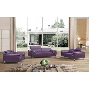 3 Piece Leather Living Room Set by Noci Design