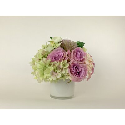 Nearly natural hydrangea silk flower arrangement in purple reviews artificial silk mixed floral arrangement in decorative vase mightylinksfo