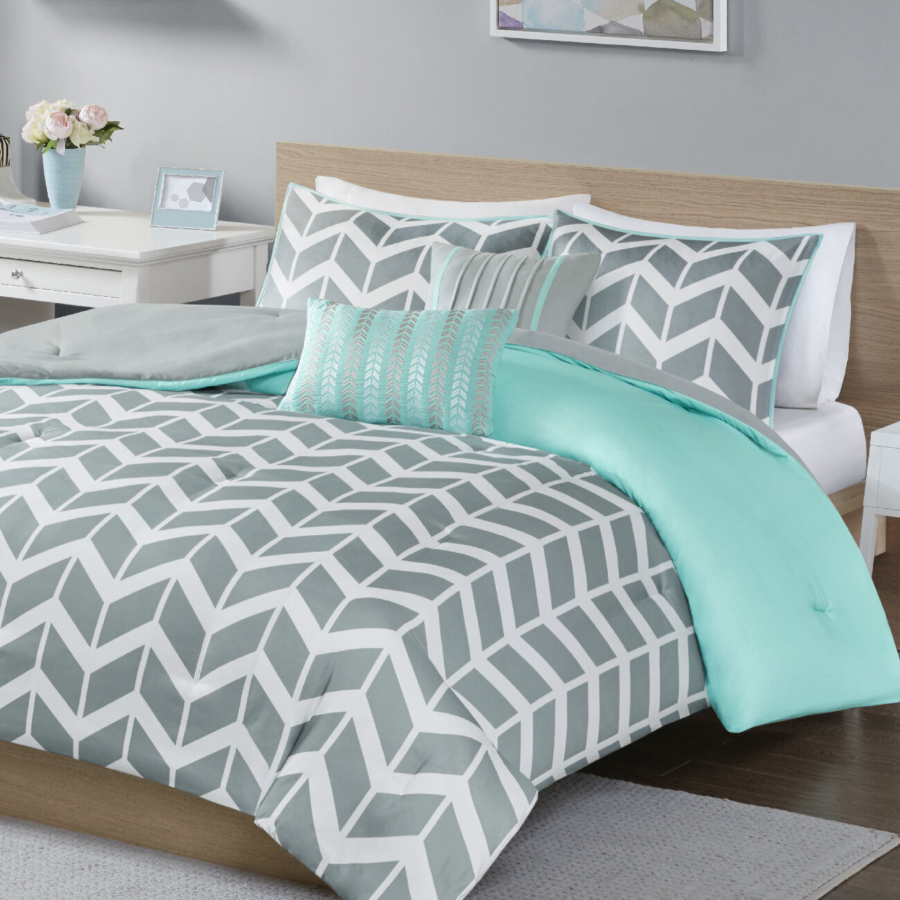 grey pc bedding teal sunrise comforter ch sets and bcs adjusted home king color k medallion set crest