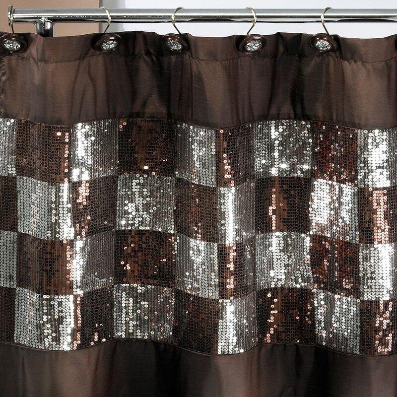 Brunilda Checkered Bling Shower Curtain