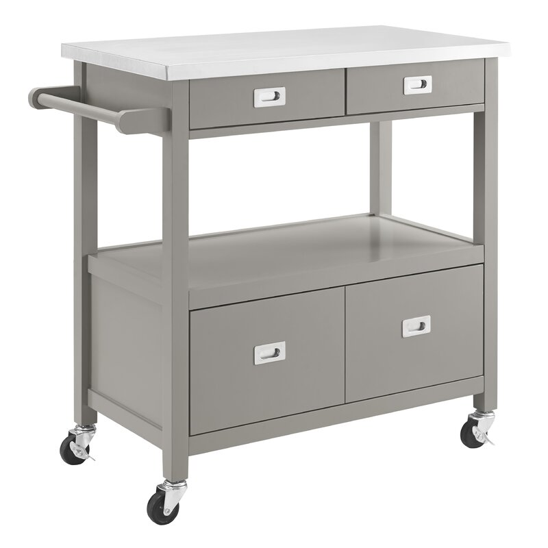 Eira Kitchen Island with Stainless Steel Top & Reviews | Joss & Main