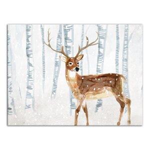 'Deer in Winter Wonderland' Graphic Art Print on Canvas