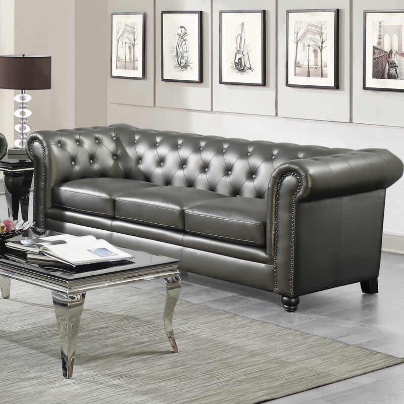 Darby Home Co Seevers Leather Chesterfield Sofa & Reviews | Wayfair