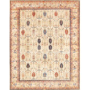 Bakhshayesh Hand-Knotted Beige/Gold Area Rug