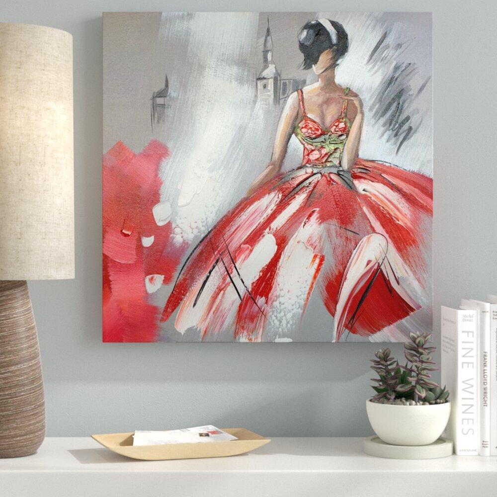 Ebern Designs Dancing In Red Dress Ii Oil Painting Print On Wred Canvas Wayfair