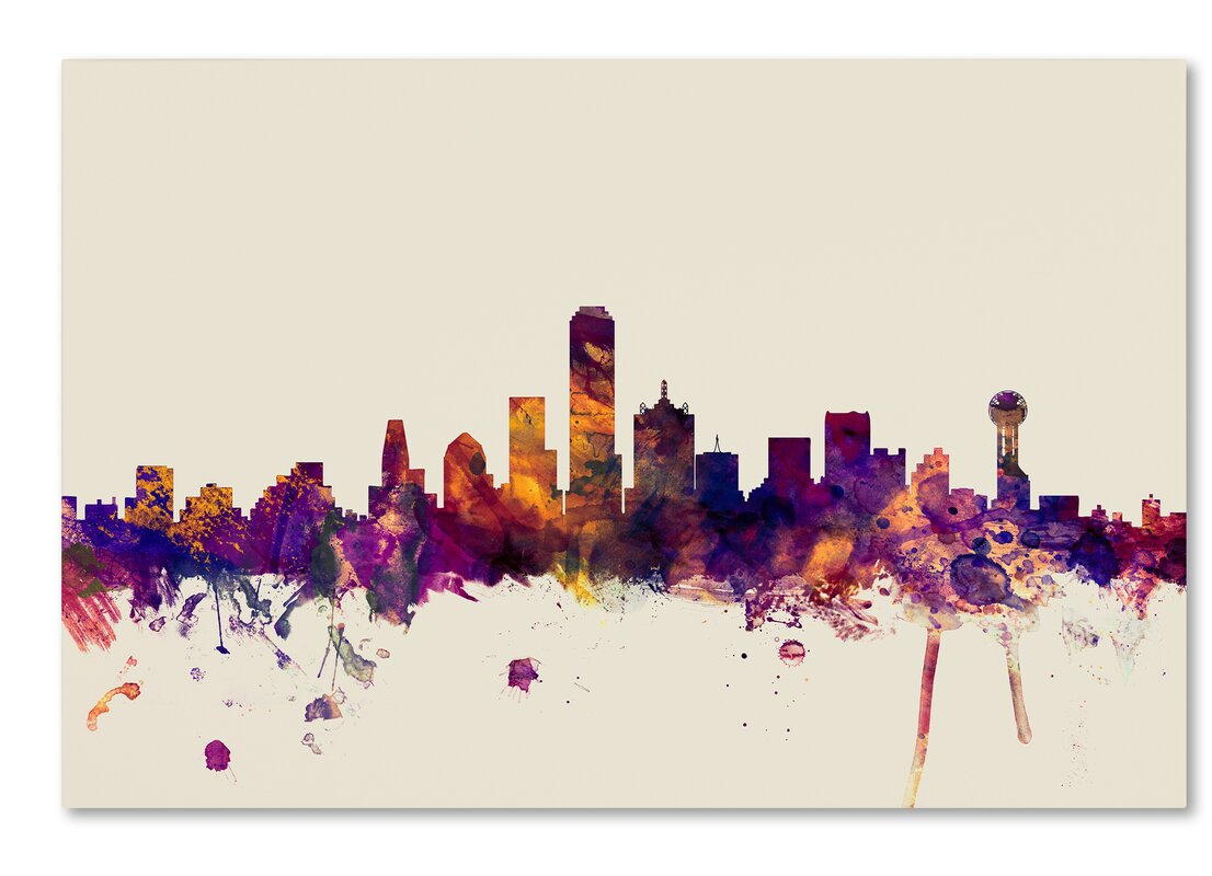 Ivy Bronx \'Dallas Texas Skyline\' Framed Graphic Art on Wrapped ...
