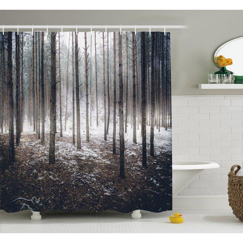 Mccarthy Scene Of Dark Spooky Misty Forest Veiled With Fog Mystic Birches Print Shower Curtain