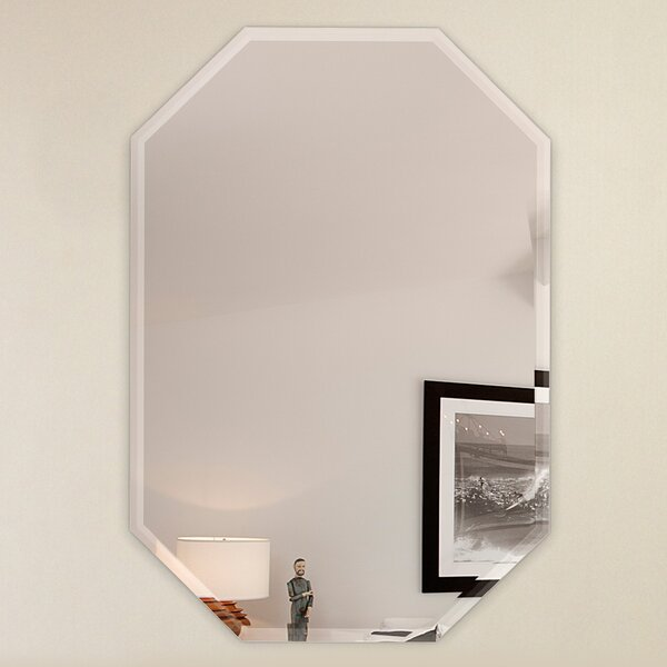 Wall Mirror With Hooks fab glass and mirror octagon frameless wall mirror with 3 hooks
