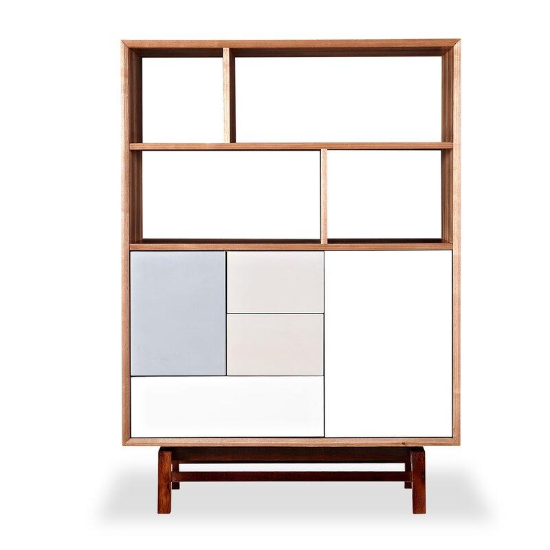 midcentury modern 3 drawer 2 door platform upright accent cabinet