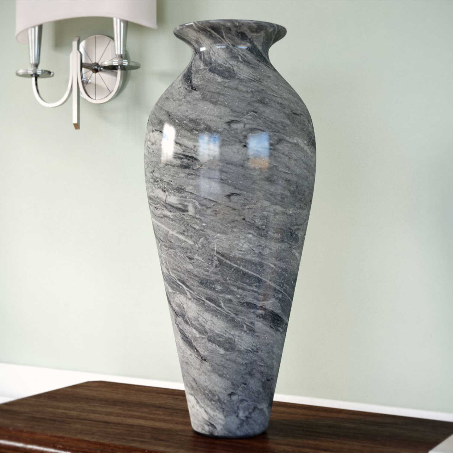 Canora Grey Marbleized Glass Vase Amp Reviews Wayfair