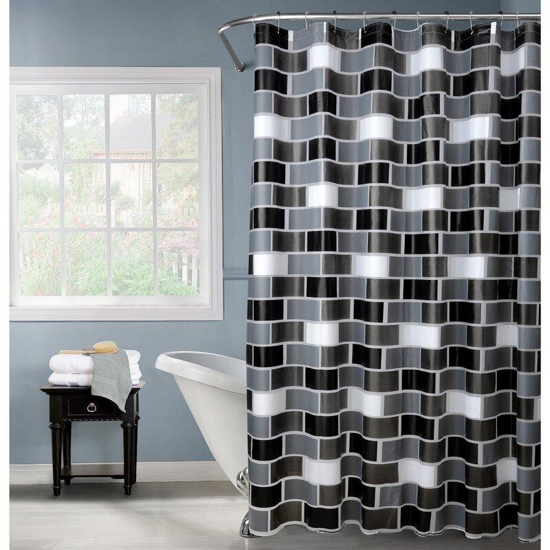 PEVA Brick Design Shower Curtain Set