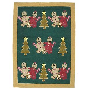 Gingerbread Family Green Area Rug