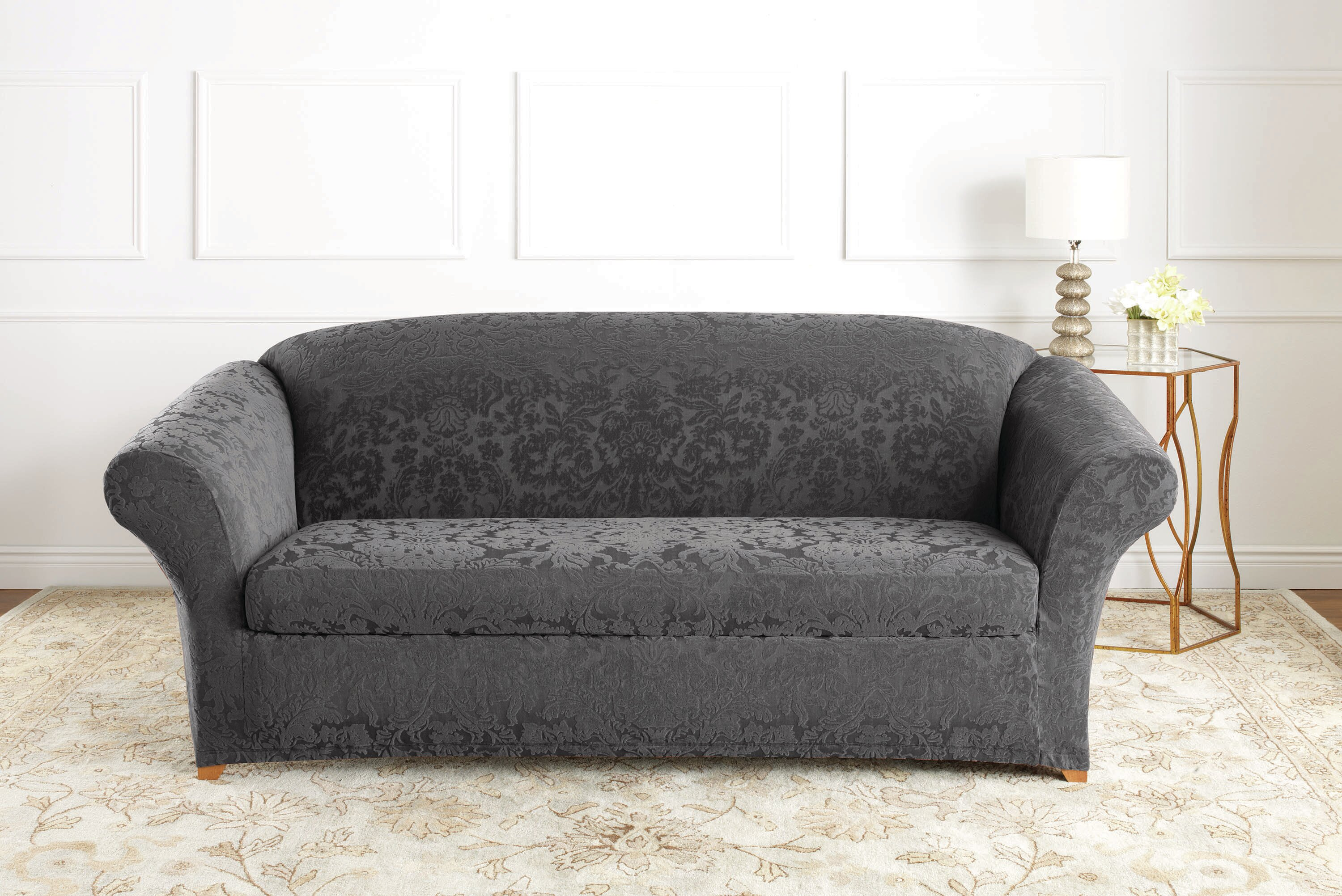 Stretch Jacquard Damask Box Cushion Sofa Slipcover