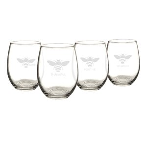 Thankful 21 Oz. Bee Stemless Wine Glasses (Set of 4)