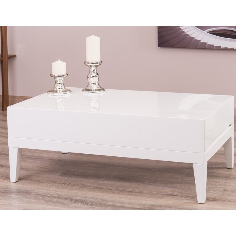 Ariah Lacquer Modern Coffee Table With Storage