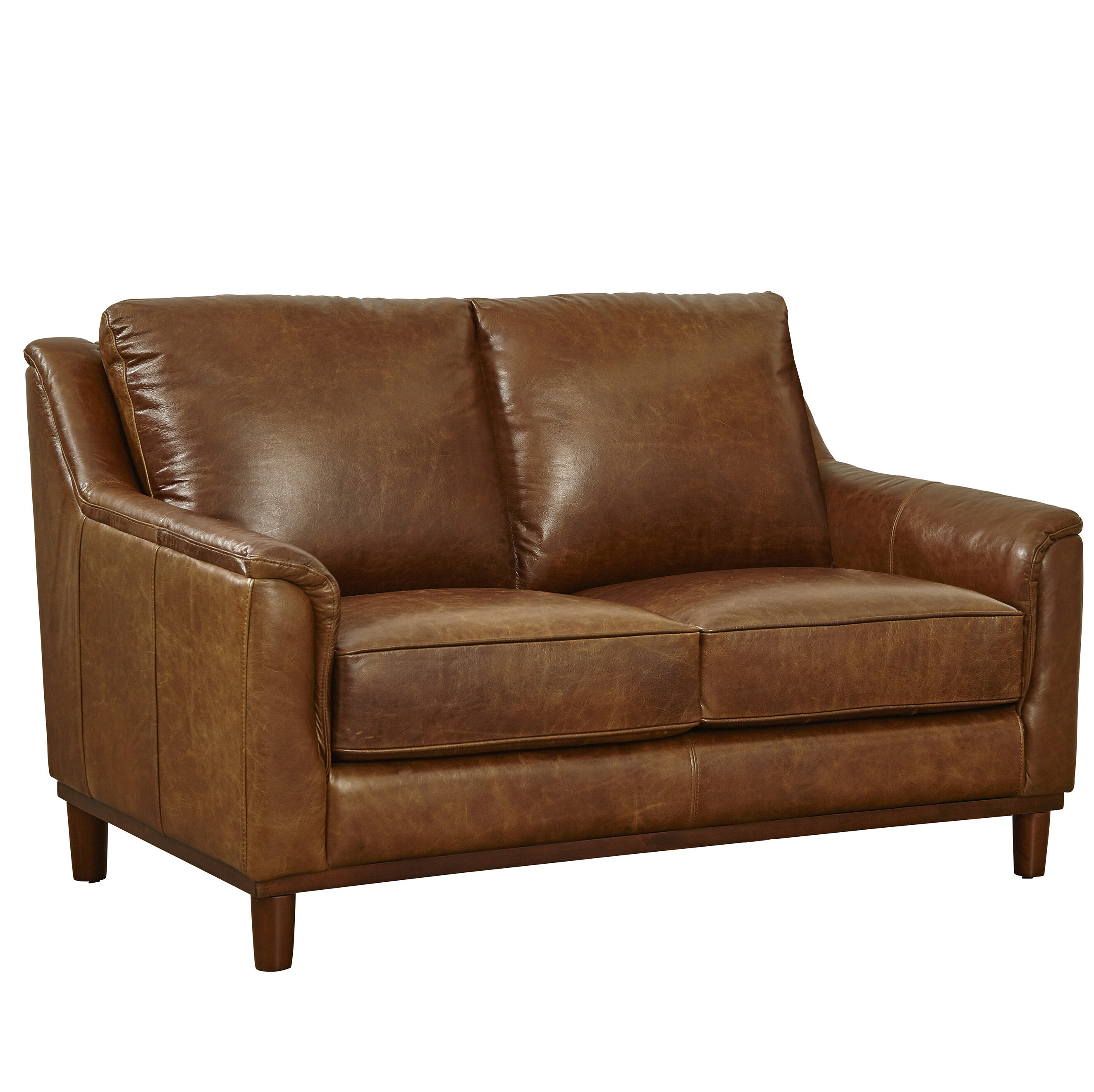 Loon Peak Knowles Leather Loveseat | Wayfair
