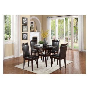 Solari Transitional Dinette 5 Piece Solid Wood Dining Set