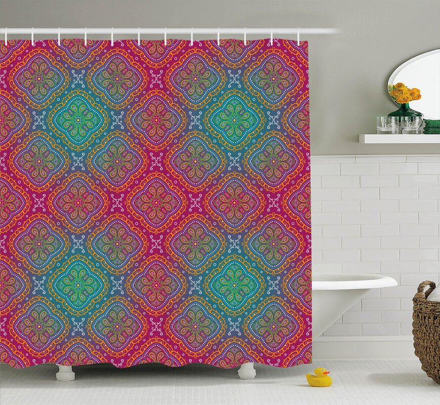 Cindy Bohemian Paisley Ethnic Indian Royal Colors Ombre Print Oriental Floral Art Shower Curtain