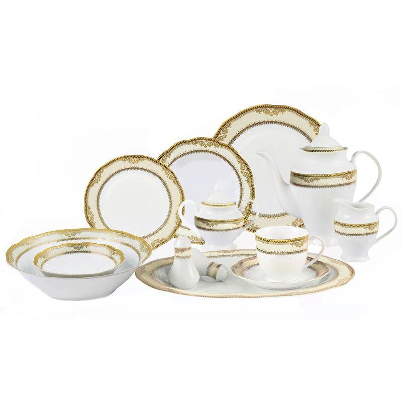 Lorren Home Trends Isabella 57 Piece Dinnerware Set, Service for 8 ...