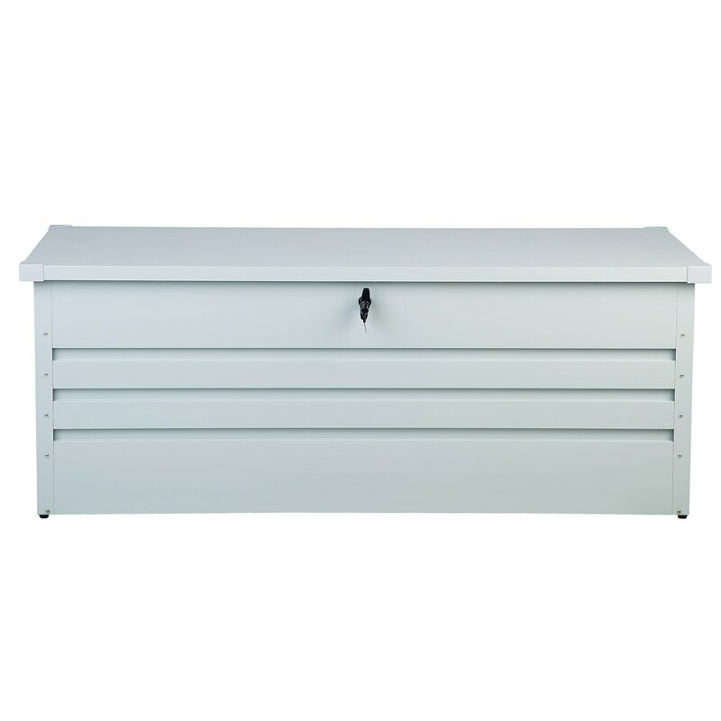 Beliani Cebrosa Outdoor 158 Gallon Metal Deck Box  Color: White