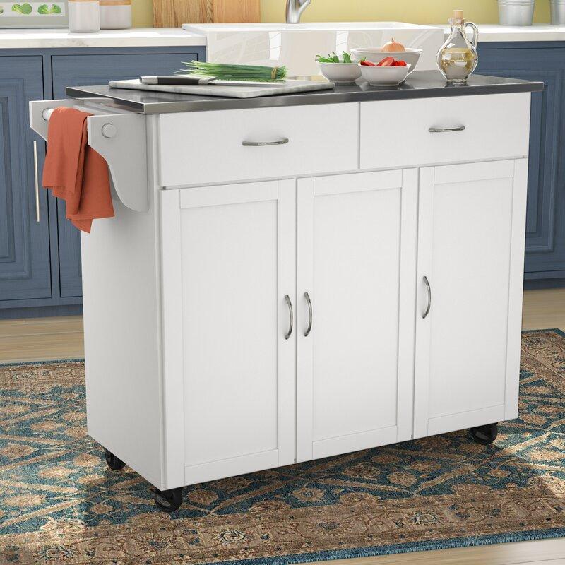 Stainless Steel Top Kitchen Island Counter Height Utility: Red Barrel Studio Garrettsville Kitchen Island With