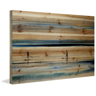 Highland Dunes 'Surfboard Paddling' by Parvez Taj Painting Print on Natural Pine Wood Size: 12 H x 18 W x 1.5 D