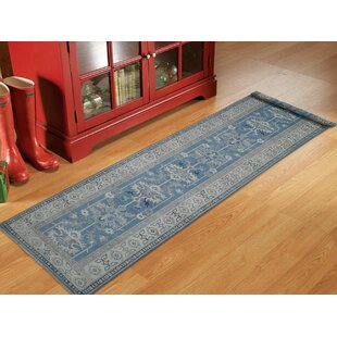 One Of A Kind Bechtold Vintage Look Hand Knotted Runner 2 8 X 15 6 Wool Blue Area Rug