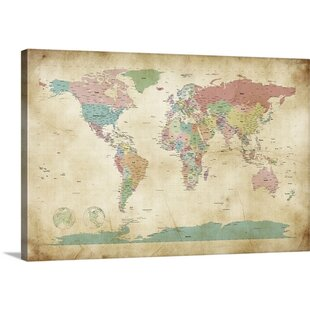 Vintage World Map Art.Vintage World Map Wall Art Wayfair