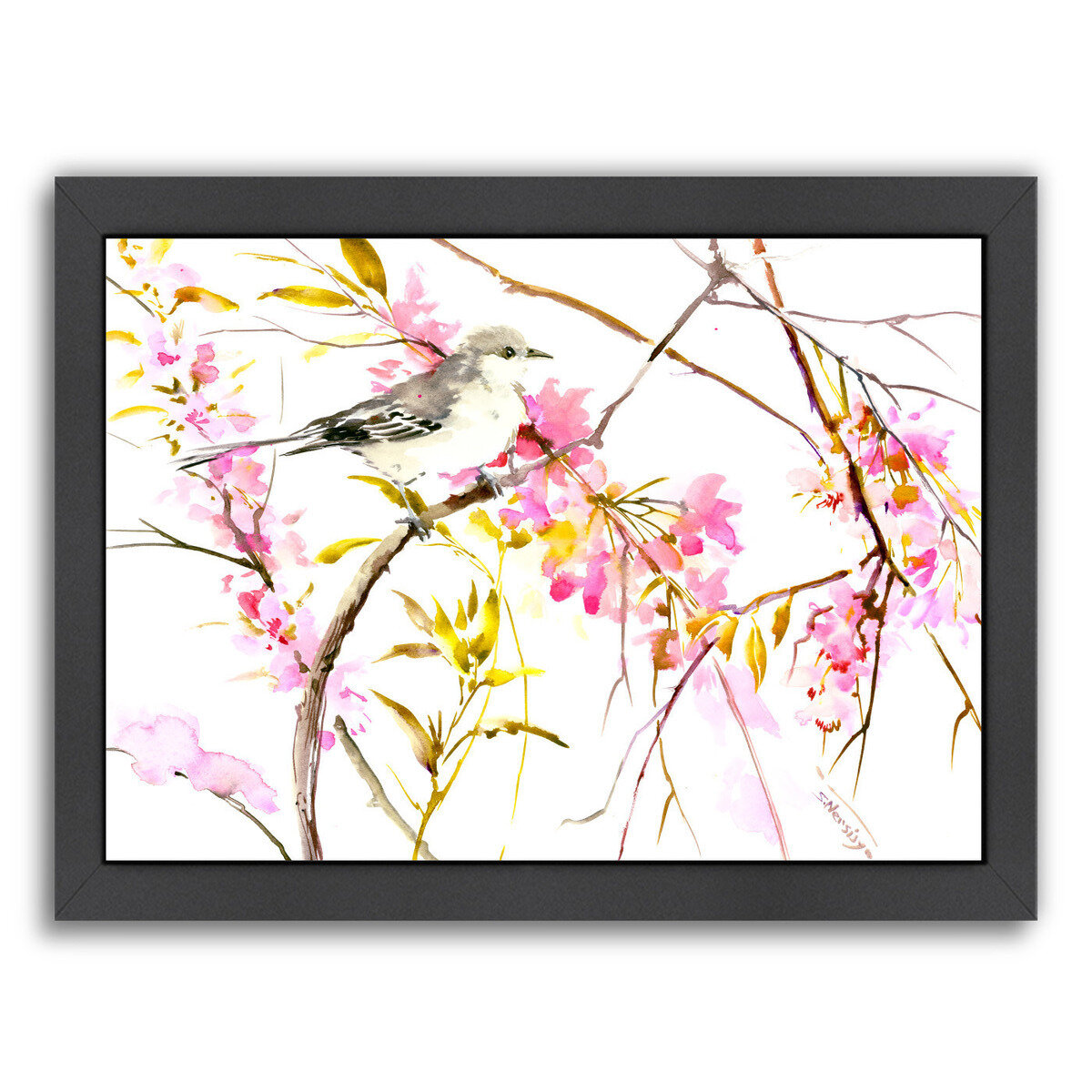 East urban home mockingbird and cherry blossom framed for Best brand of paint for kitchen cabinets with cherry blossom canvas wall art