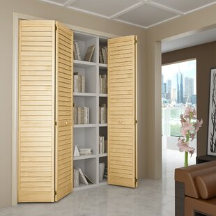 Louvered Wood Unfinished Bi Fold Door