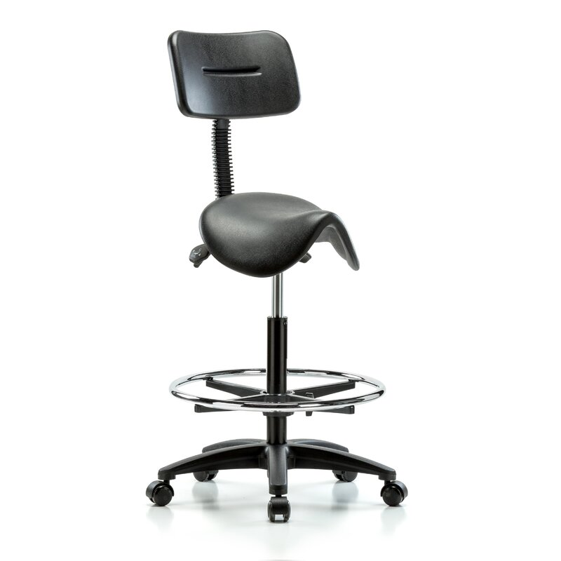 Incroyable Height Adjustable Saddle Stool With Back And Foot Ring