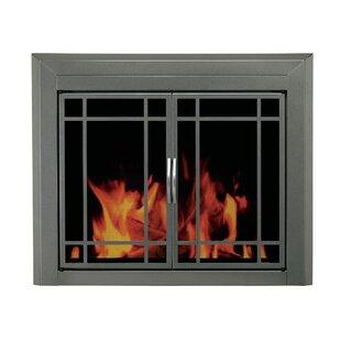 Edinburg Prairie Cabinet Style Fireplace Screen And 9 Pane Smoked Glass Door