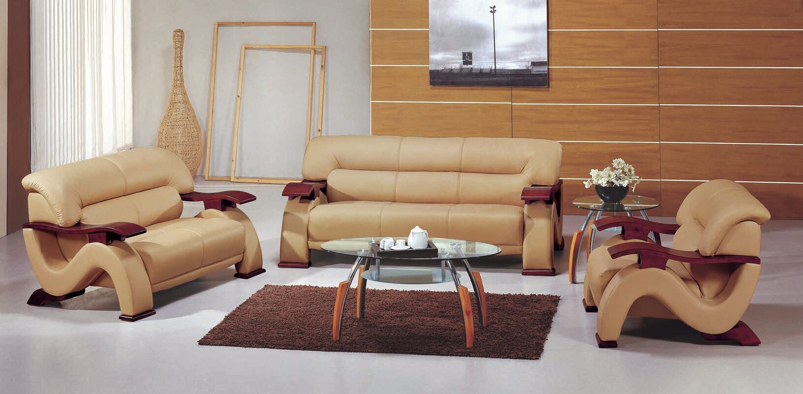 Chrysocolla Leather 3 Piece Living Room Set