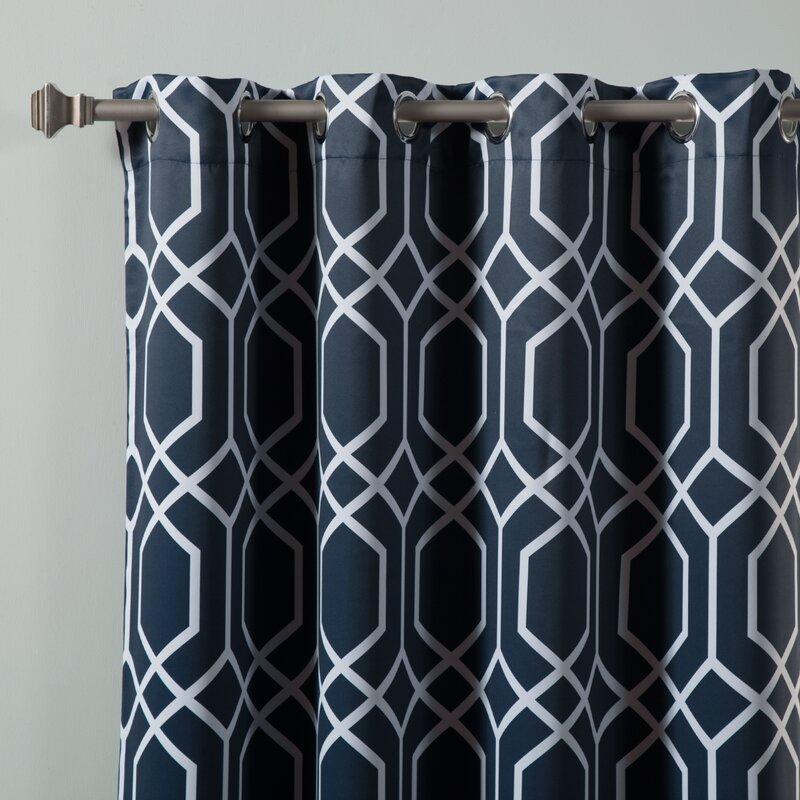 Trellis Geometric Semi Sheer Grommet Curtain Panels