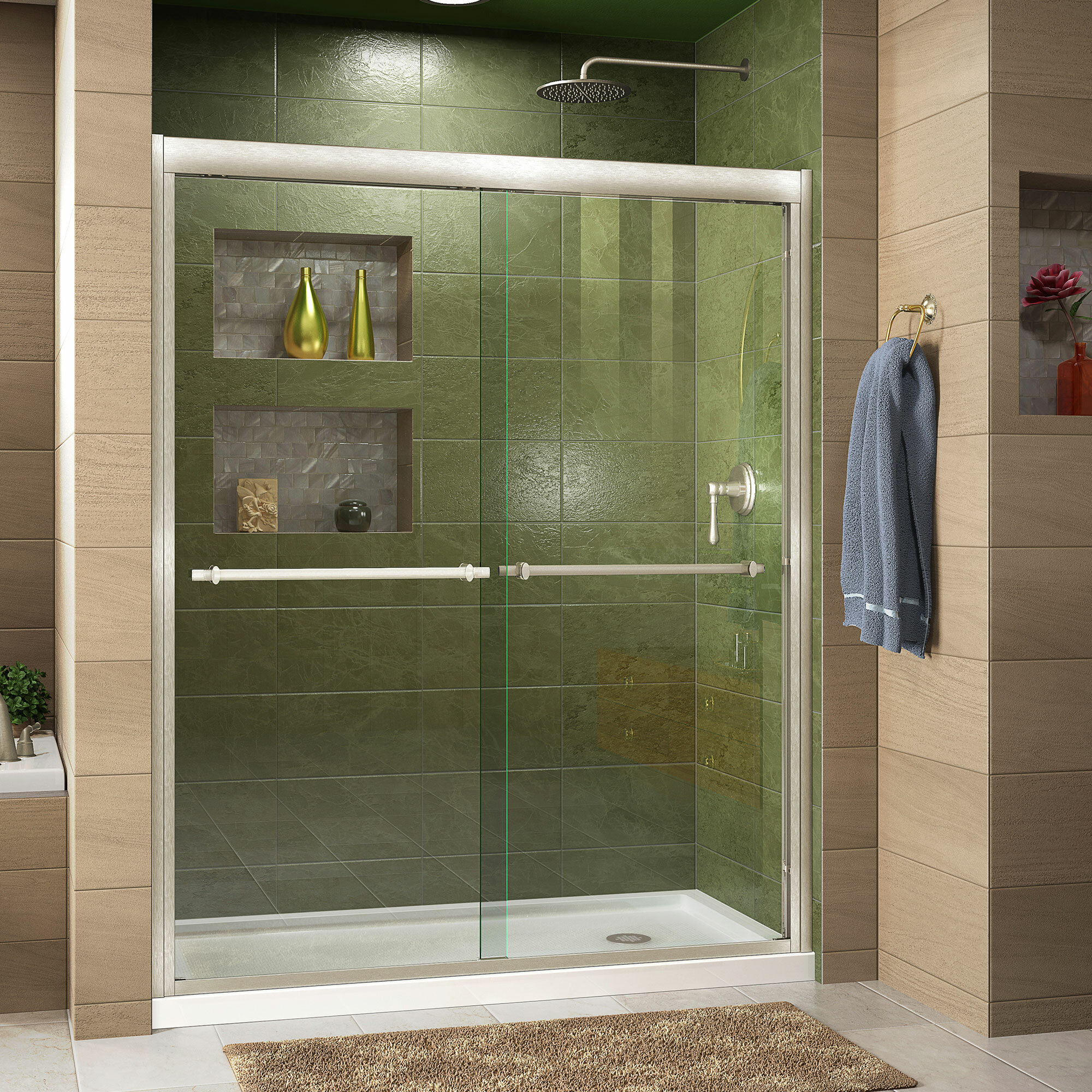 Dreamline Duet 48 X 7475 Bypass Semi Frameless Shower Door Wayfair