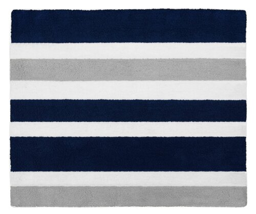 Stripe Hand Tufted Navy Blue Gray Area Rug