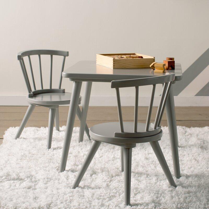 Mack Milo Nicklas Kids 3 Piece Windsor Writing Table And Chair Set
