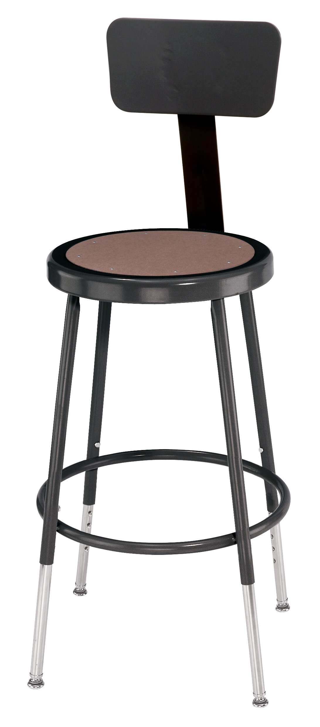 National Public Seating Height Adjustable Stool With Back And Round  Hardboard Seat U0026 Reviews   Wayfair