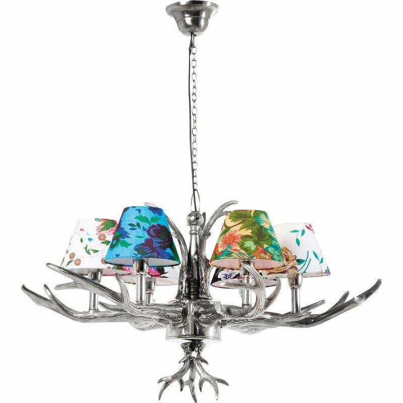 KARE Design Antler Flowers 6-Light Shaded Chandelier