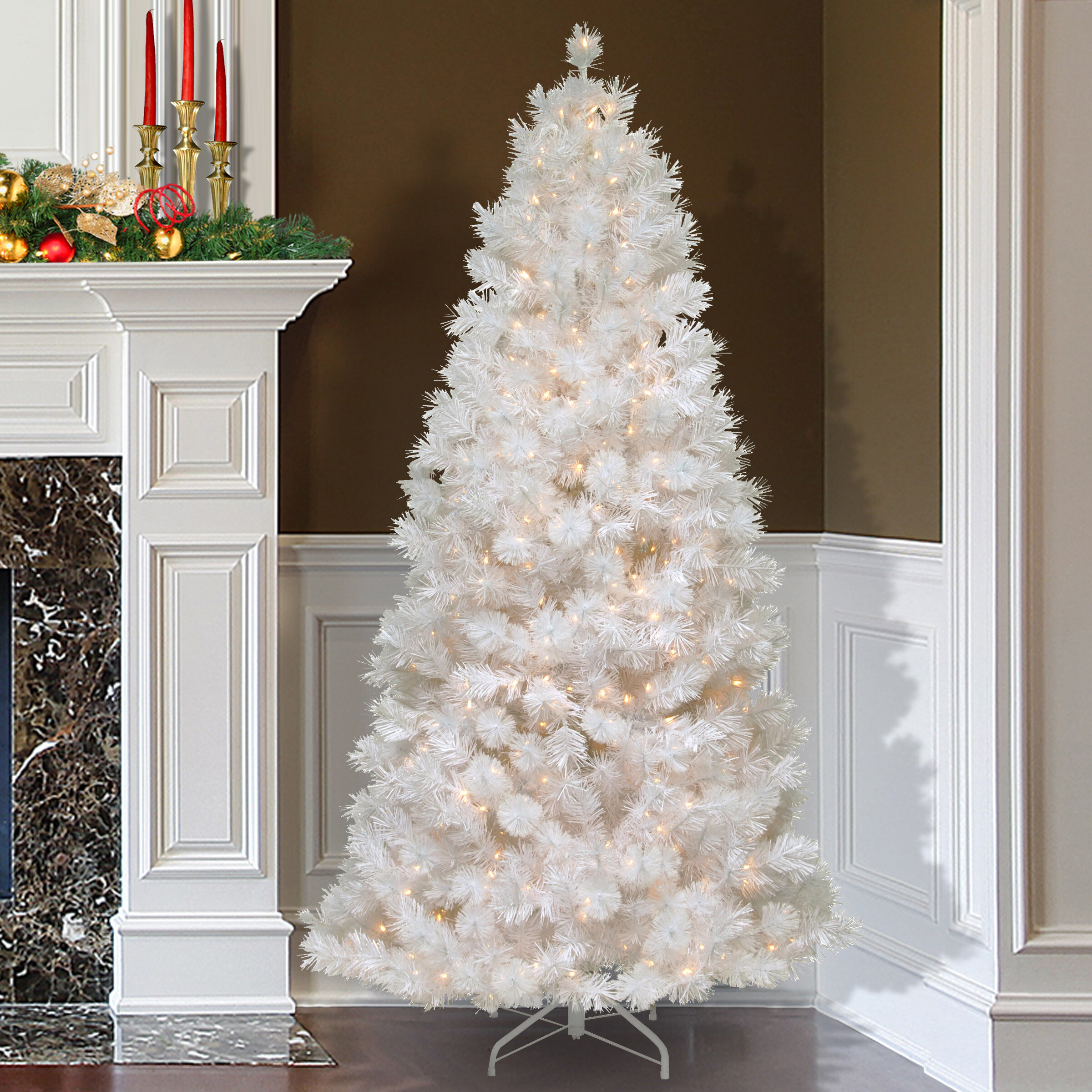 75 white grande slim artificial christmas tree with 500 pre lit clear lights with stand - White Pre Lit Christmas Trees