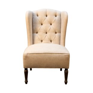 Superbe Vanina Burlap And Linen Wingback Side Chair