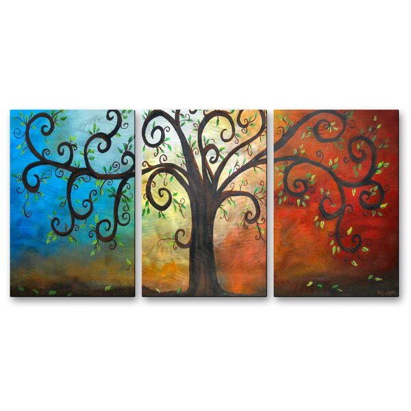 All my walls 39curly tree39 by elaine hodges 2 piece graphic for Best brand of paint for kitchen cabinets with metal disc wall art